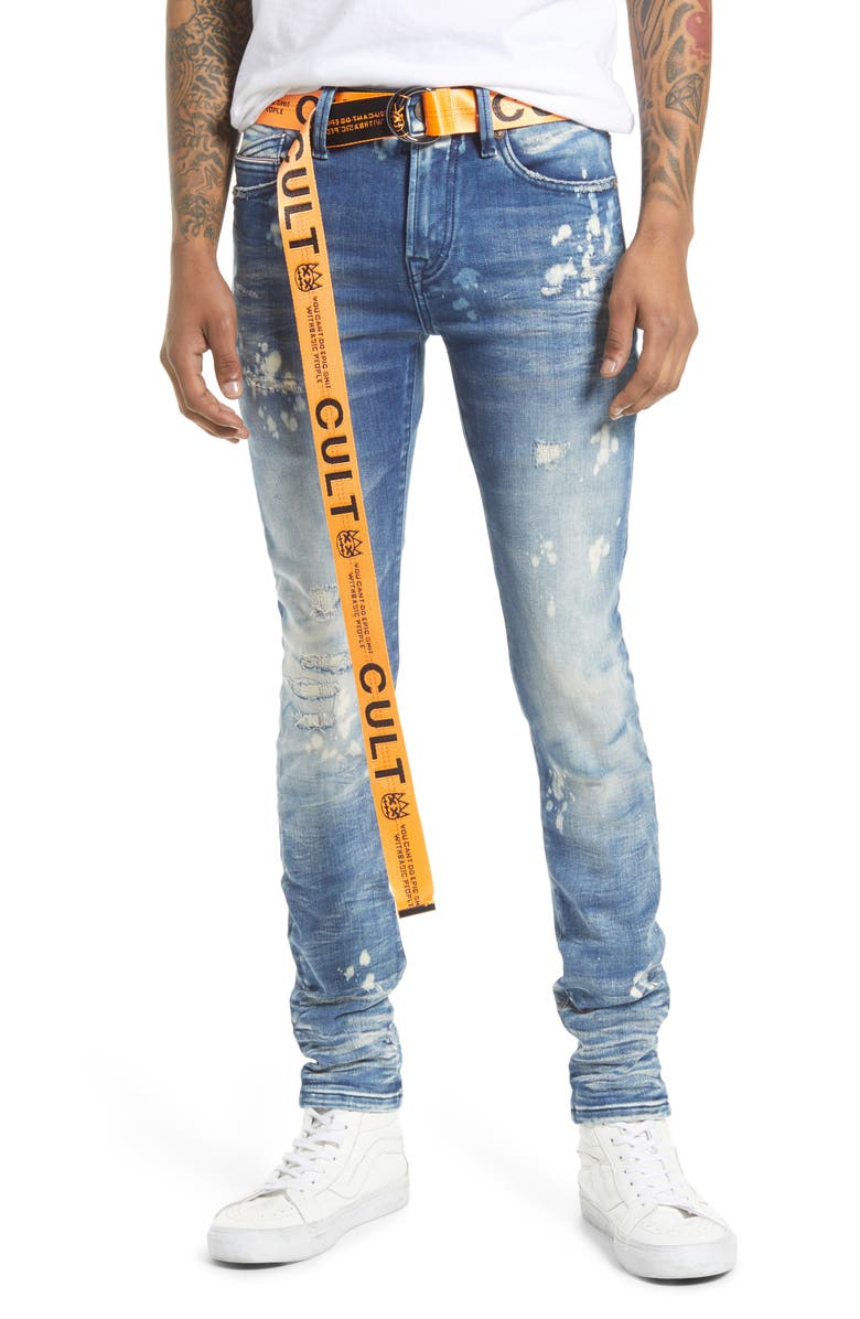 CULT OF INDIVIDUALITY Punk Men's Distressed Super Skinny Jeans, Main, color, DUNE