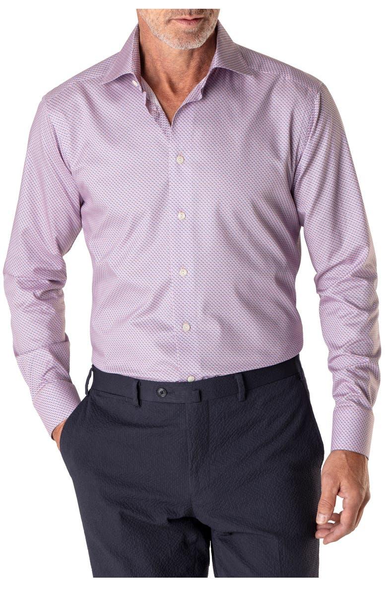 Slim Fit Print Dress Shirt, Main, color, ORANGE