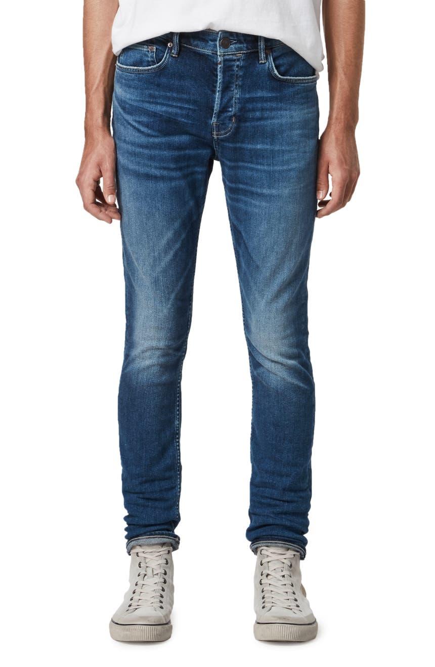 Cigarette Skinny Fit Jeans, Main, color, MID INDIGO BLUE