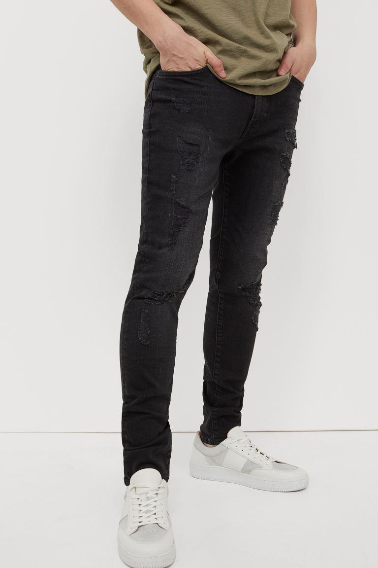 Skinny Jeans - Black/trashed - Men   H&M US