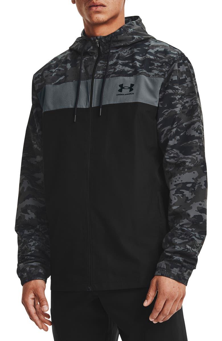 UNDER ARMOUR Men's UA Sportstyle Camo Hooded Windbreaker, Main, color, BLACK / BLACK