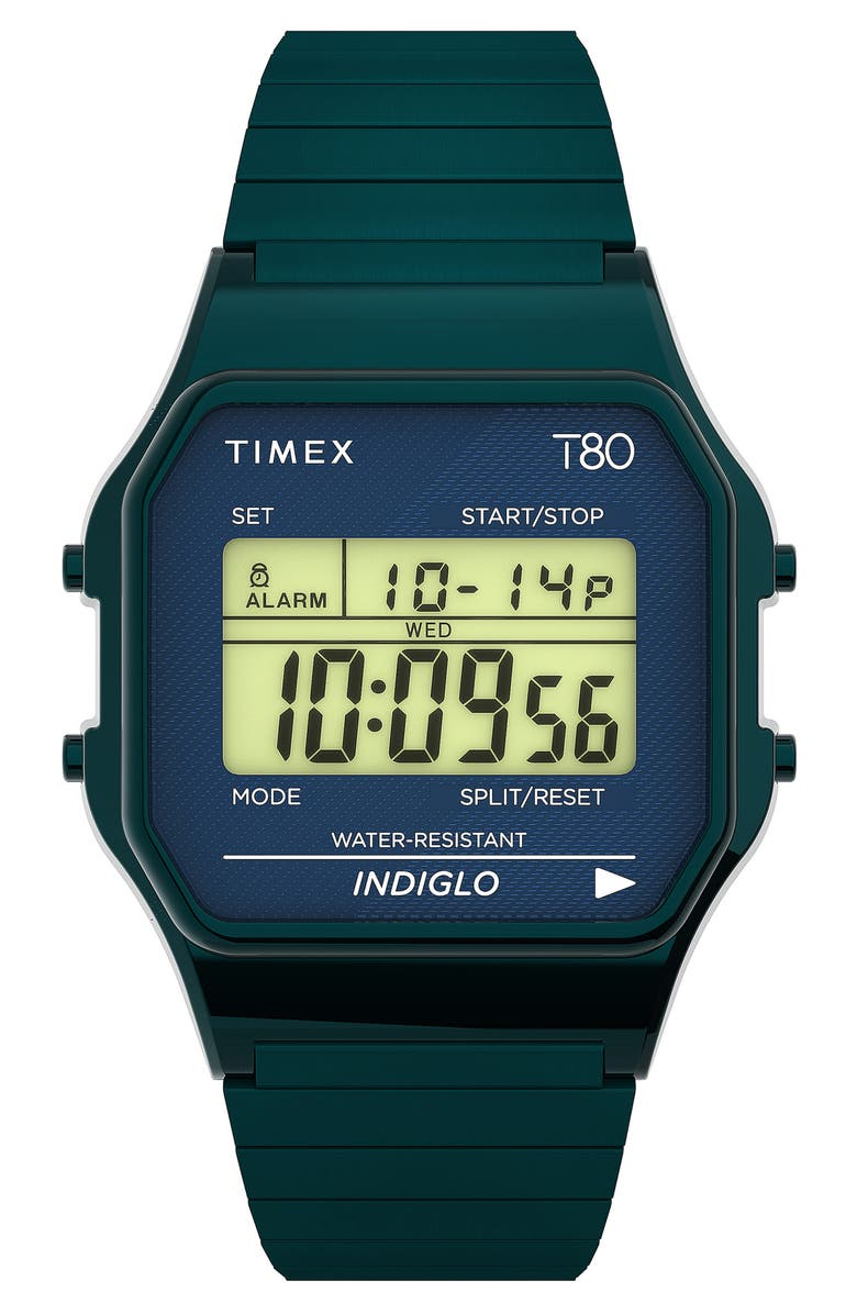 TIMEX® T80 Digital Expansion Band Watch, 34mm, Main, color, BLACK