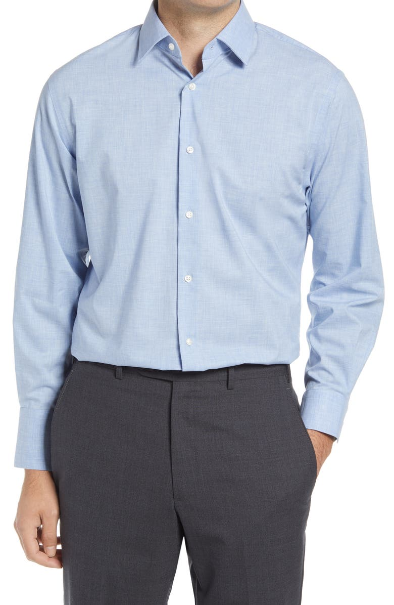Traditional Fit Non-Iron Chambray Dress Shirt, Main, color, BLUE CASHMERE