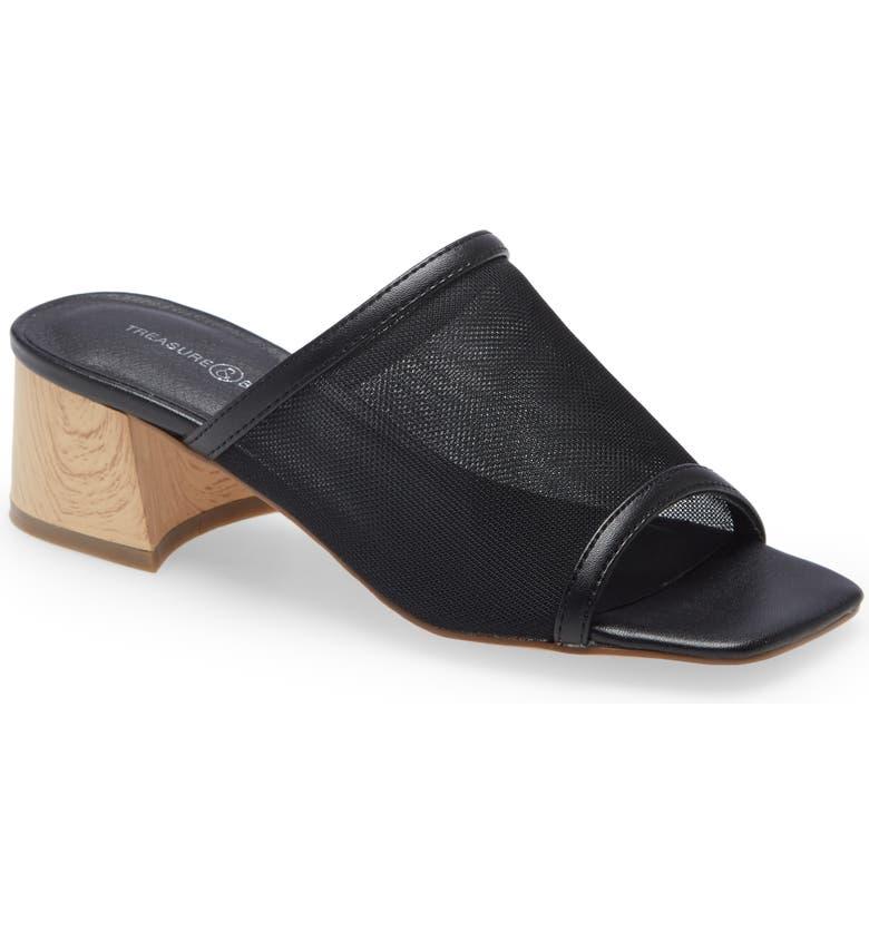 Ziaden Block Heel Slide Sandal, Main, color, BLACK
