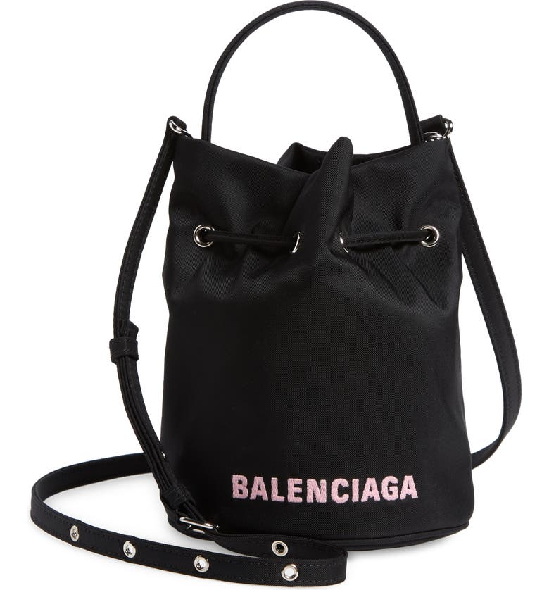Extra Small Wheel Logo Bucket Bag, Main, color, BLACK/ L CANDY PINK