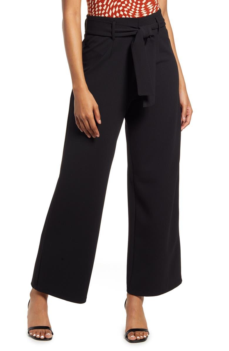 Belted High Waist Pants, Main, color, BLACK