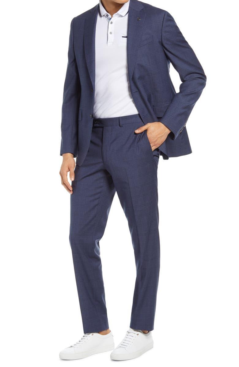 TED BAKER LONDON Jay Trim Fit Plaid Wool Suit, Main, color, Blue