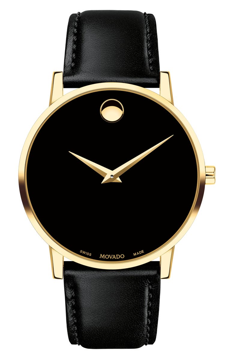 MOVADO Leather Strap Watch, 40mm, Main, color, BLACK/ GOLD