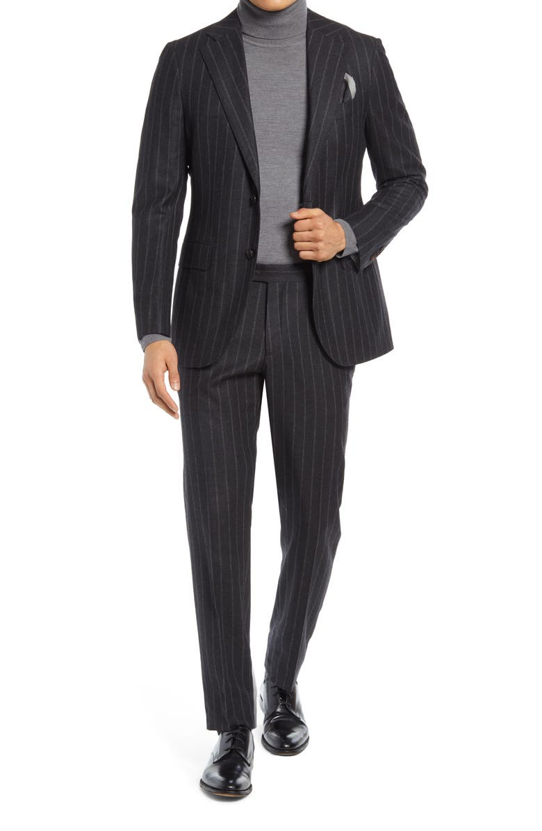 SUITSUPPLY Stripe Wool Blend Suit, Main, color, GREY