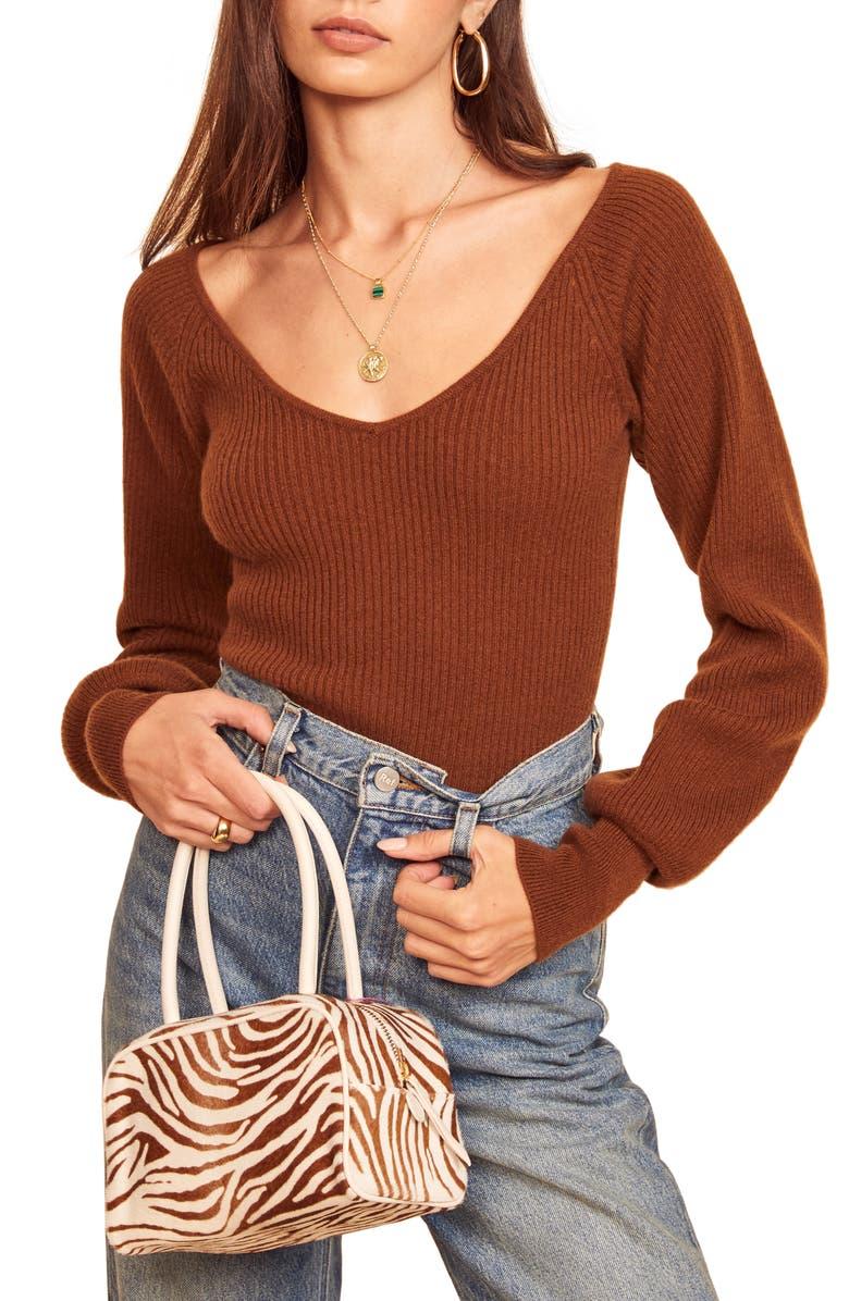 REFORMATION Hart Wide Neck Sweater, Main, color, CINNAMON