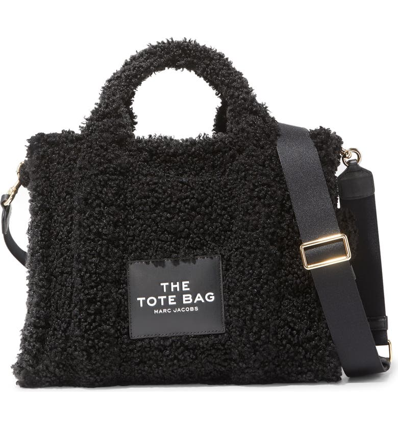 MARC JACOBS Small Faux Shearling Traveler Tote Bag, Main, color, BLACK