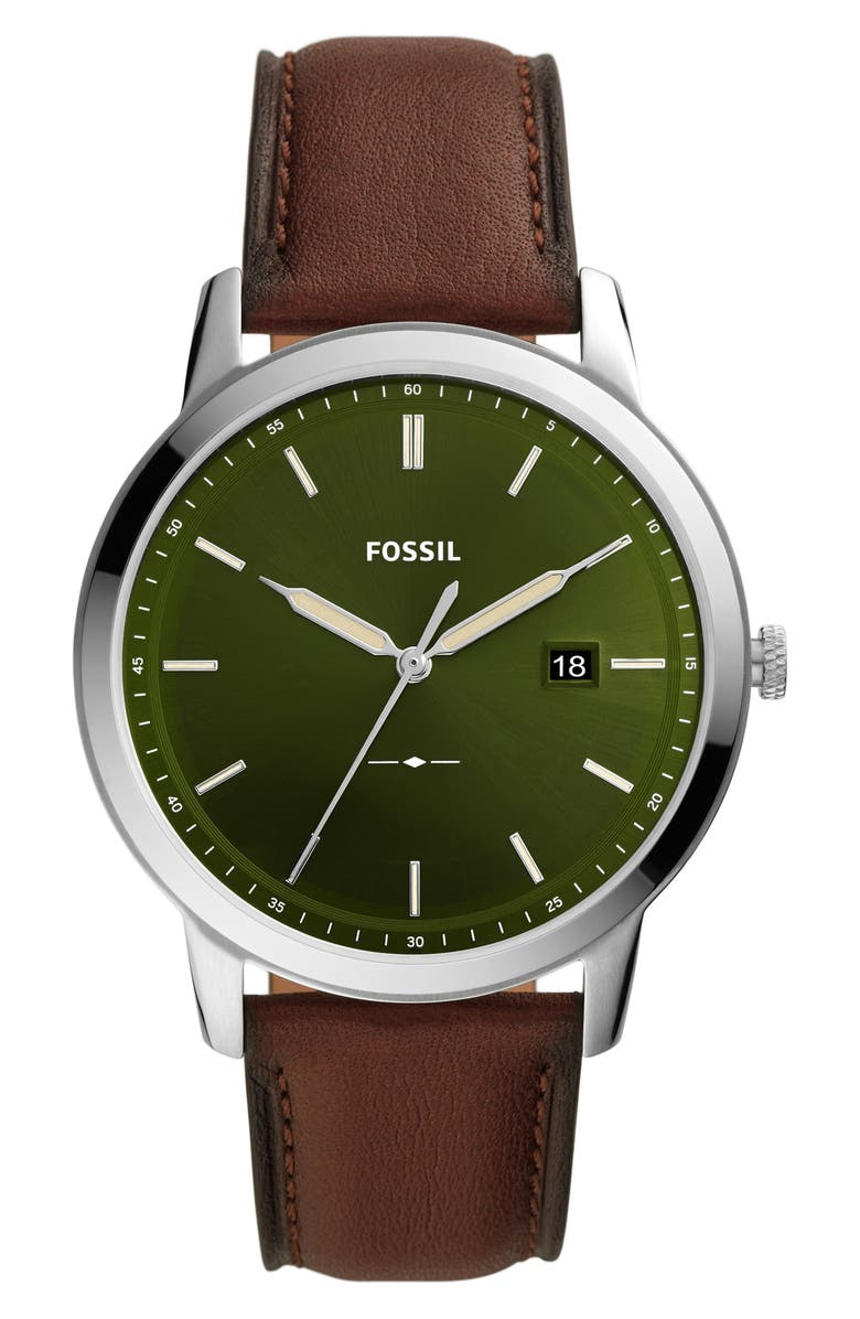 FOSSIL Minimalist Solar Leather Strap Watch, 42mm, Main, color, SILVER/ BROWN