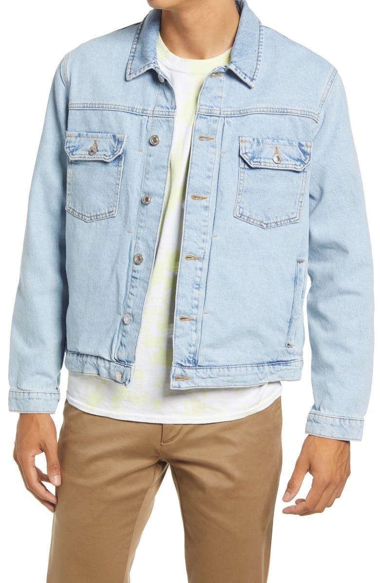 TOPMAN Men's Classic Fit Denim Jacket, Main, color, LIGHT BLUE