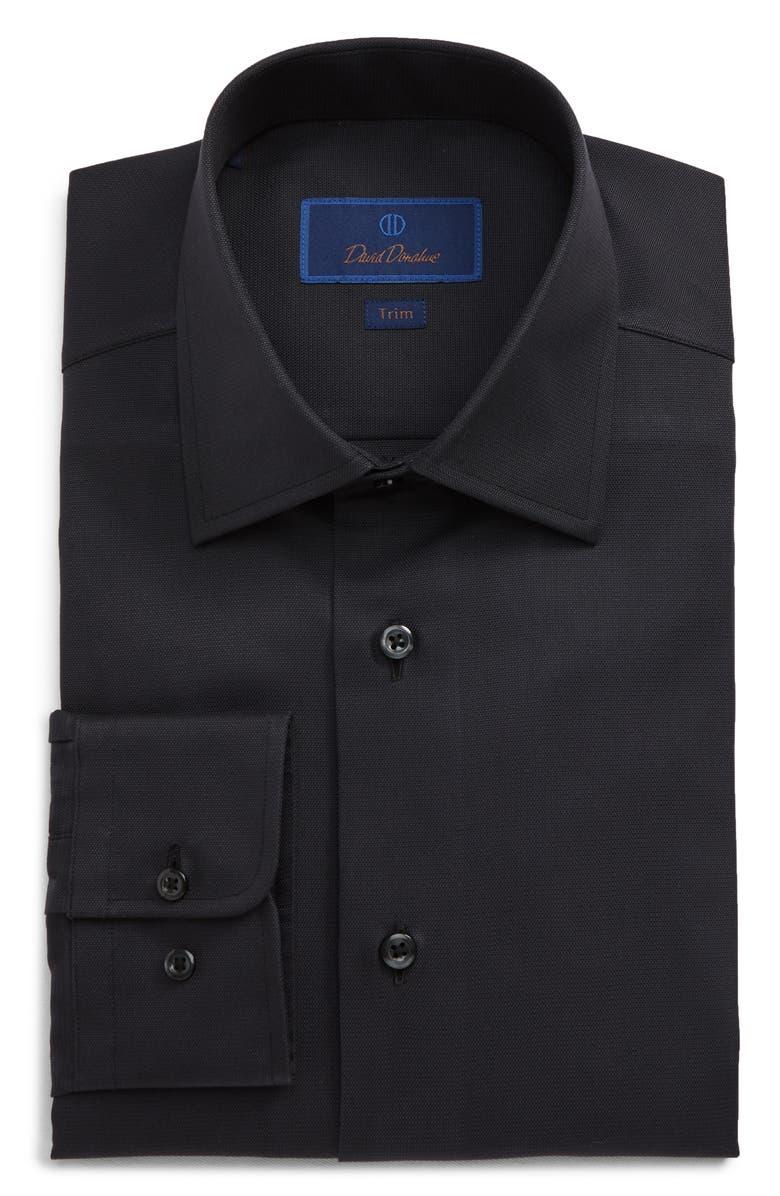 Trim Fit Cotton Dress Shirt, Main, color, BLACK