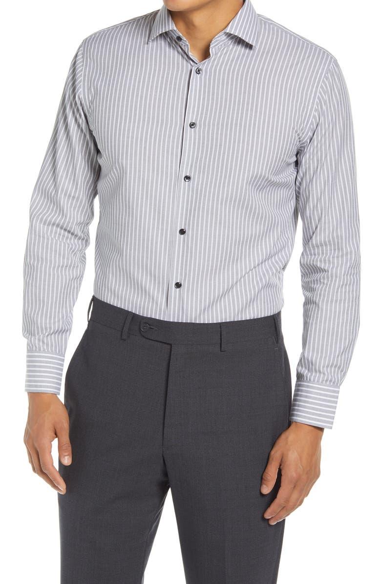 Trim Fit Stripe Non-Iron Dress Shirt, Main, color, GREY PEWTER
