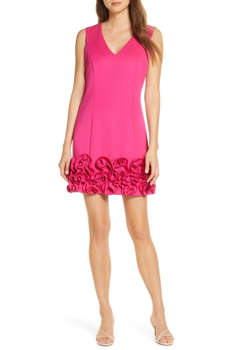 DONNA RICCO Cupcake Hem Scuba Sheath Dress, Main, color, HOT PINK
