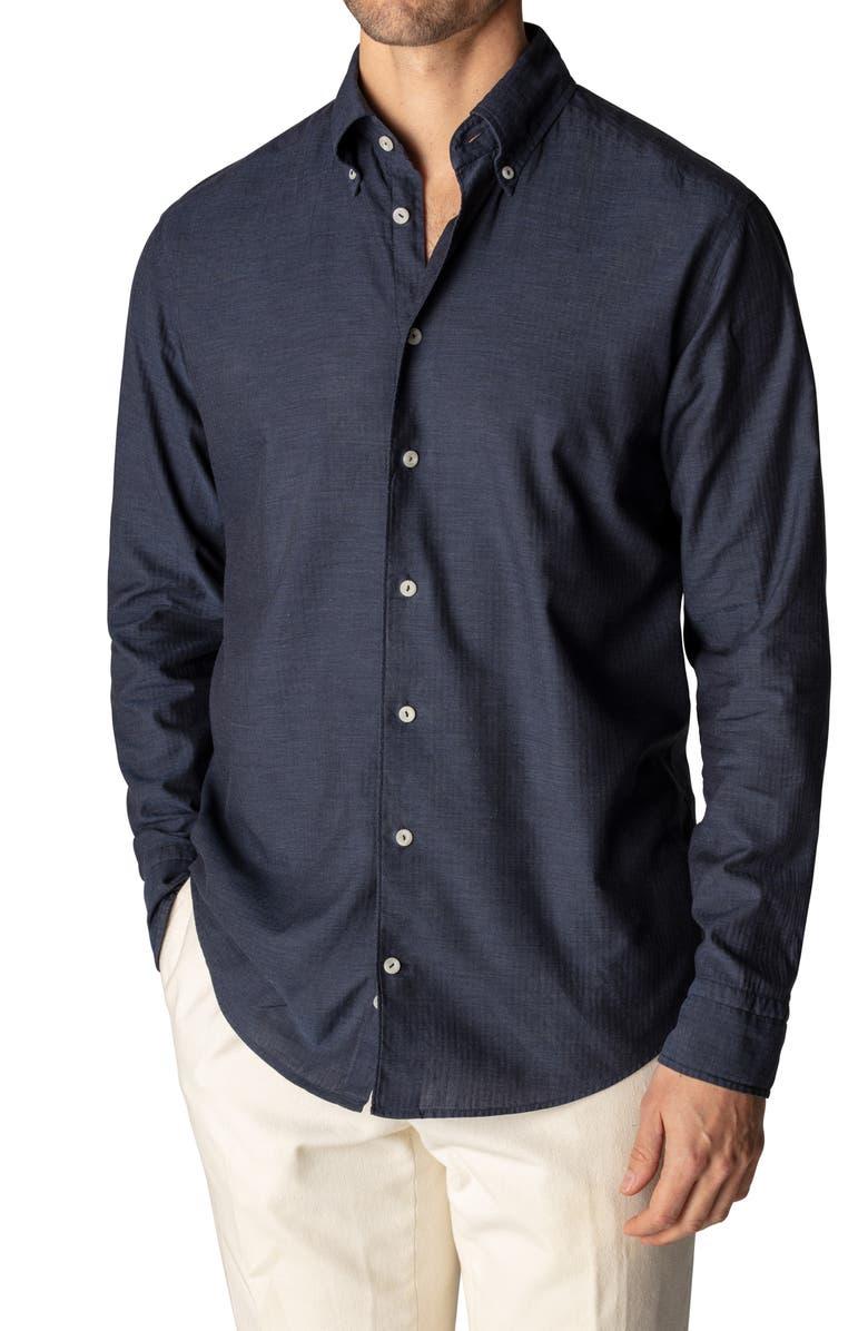 Soft Casual Slim Fit Flannel Button Down Shirt, Main, color, Blue