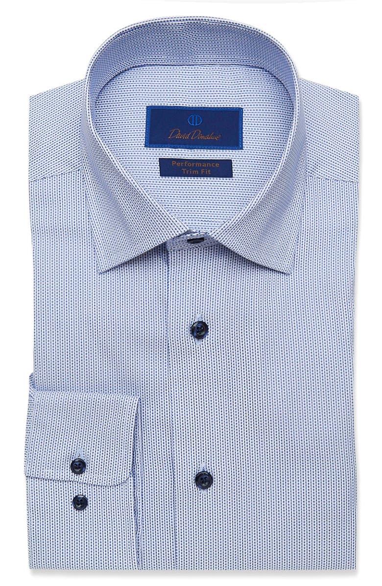Trim Fit Performance Dress Shirt, Main, color, WHITE/ BLUE