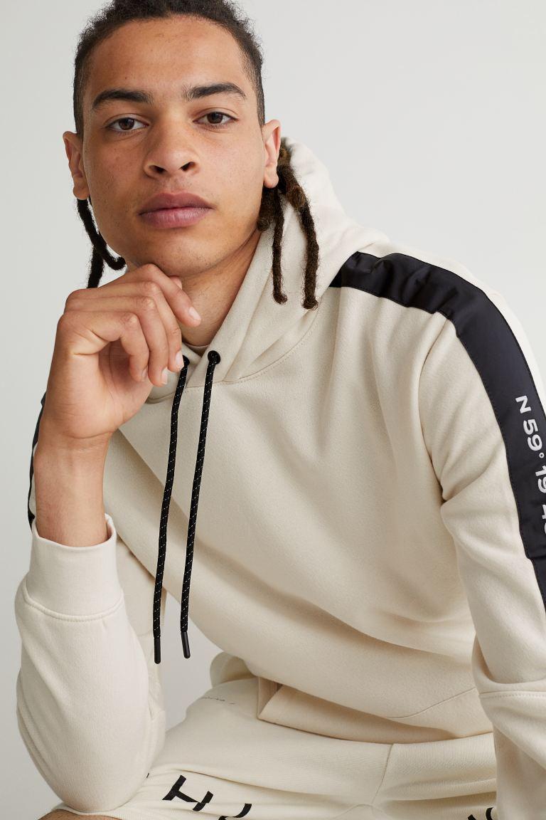 Sleeve Panel-detail Hoodie - Cream - Men   H&M US