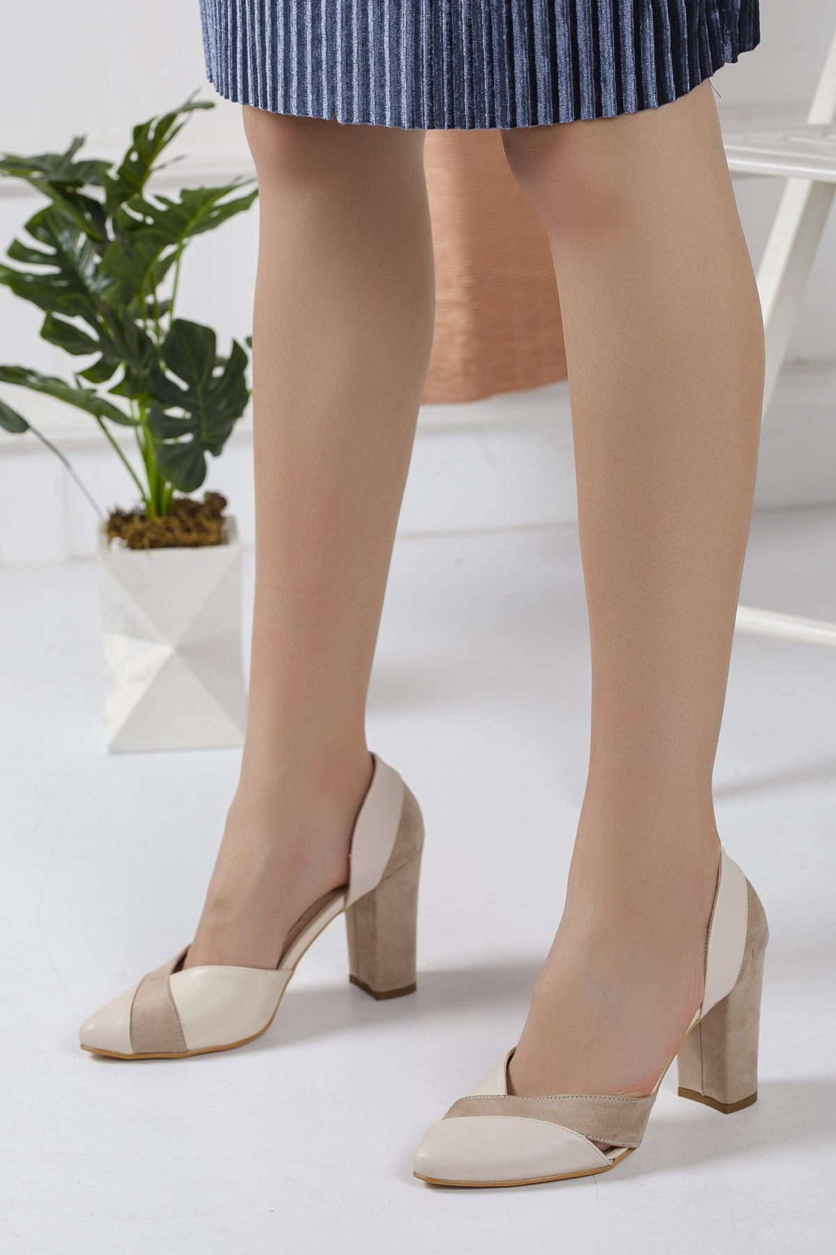 Women's Mink Leather - Suede Heeled Shoes