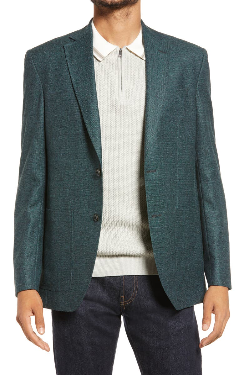 TED BAKER LONDON Keith Slim Fit Stretch Wool Sport Coat, Main, color, GREEN