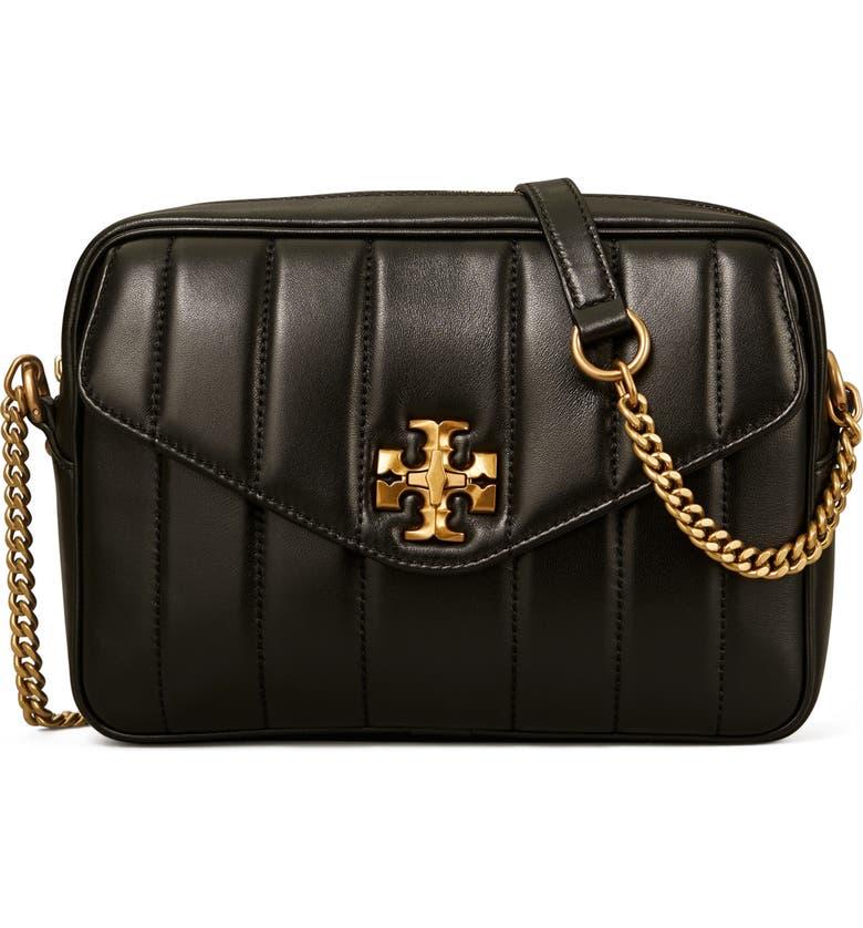 TORY BURCH Kira Leather Camera Bag, Main, color, BLACK
