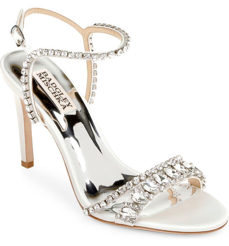 BADGLEY MISCHKA COLLECTION Badgley Mischka Marina Ankle Strap Sandal, Main, color, SOFT WHITE