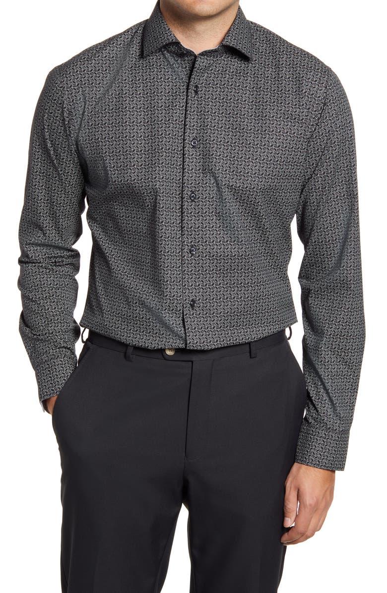 Trim Fit Non-Iron Geometric Dress Shirt, Main, color, BLACK TESS GEO PRINT