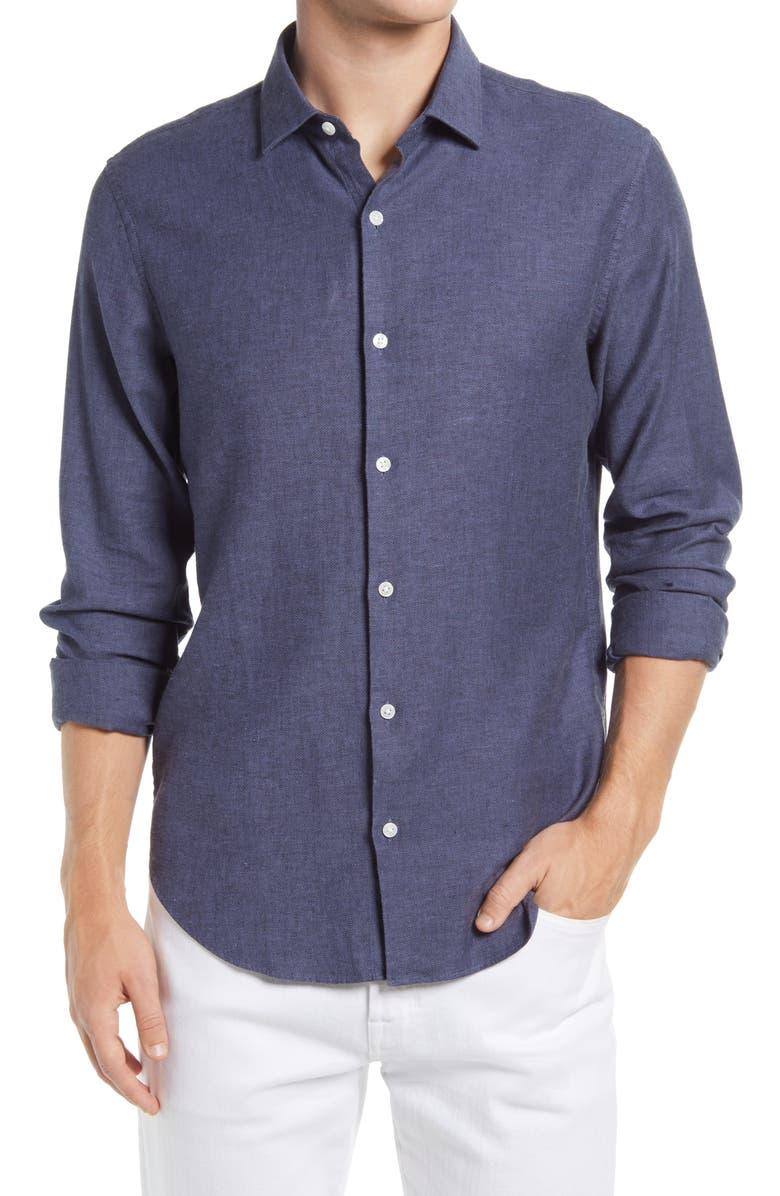 Slim Fit Stretch Linen & Cotton Button-Up Shirt, Main, color, NAVY HERRINGBONE