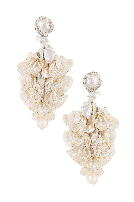 PatBO X Ranjana Khan Pearl & Silk Flower Earrings in White   REVOLVE