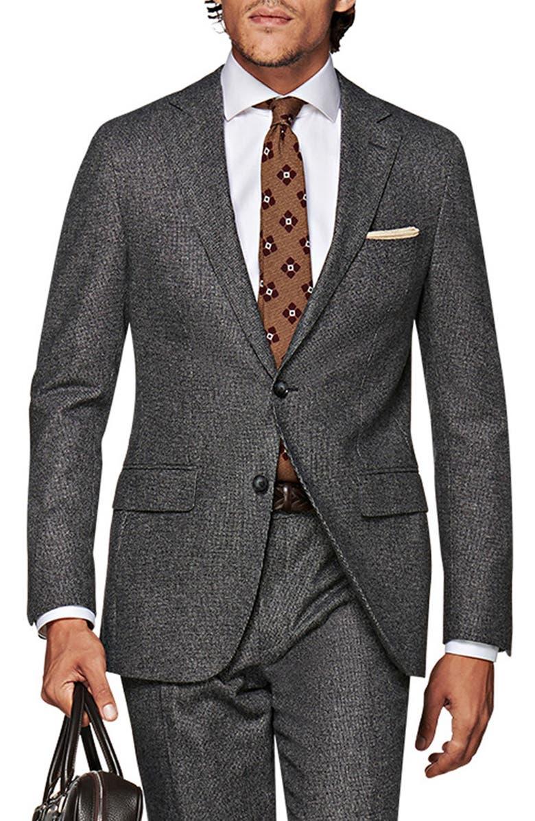 SUITSUPPLY Solid Wool Suit, Main, color, DARK GREY