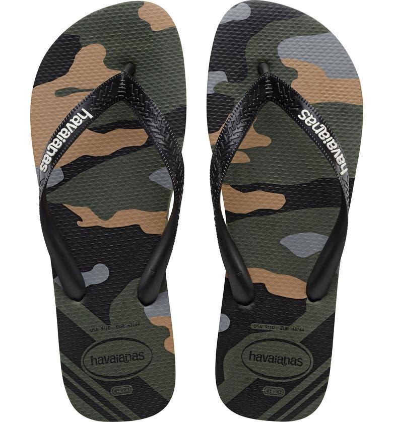 HAVAIANAS Top Camo Flip Flop, Main, color, OLIVE GREEN