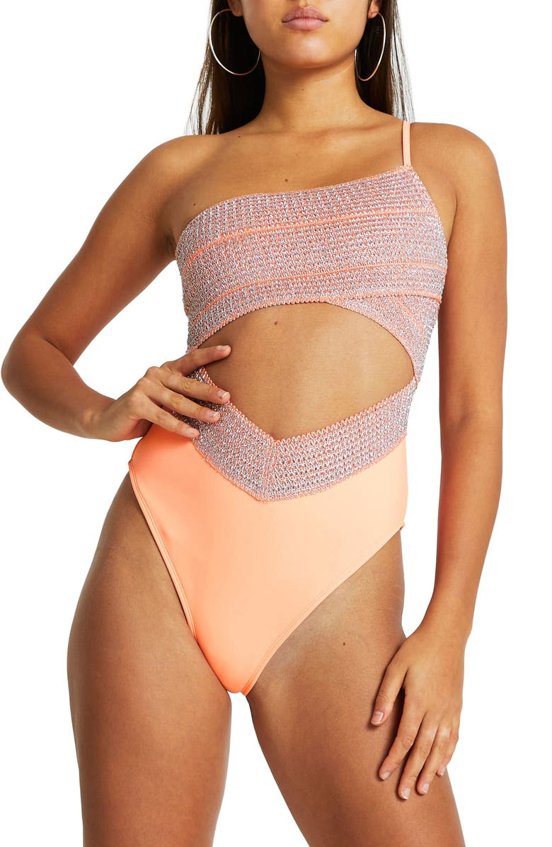RIVER ISLAND One-Shoulder Cutout One-Piece Swimsuit, Main, color, CORAL