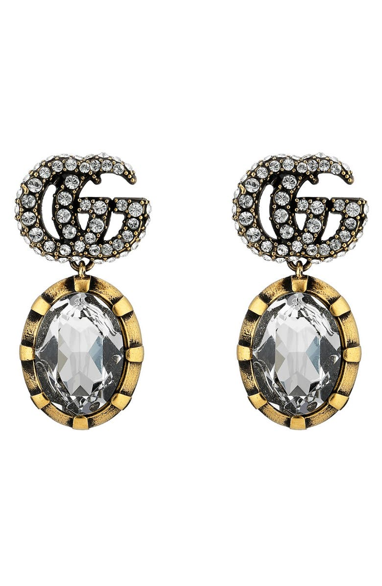 GUCCI GG Running Drop Earrings, Main, color, GOLD/ CRYSTAL