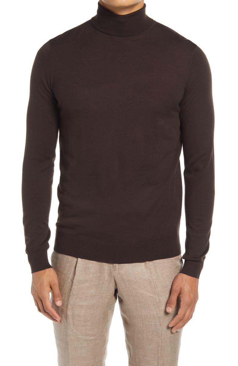 SUITSUPPLY Merino Wool Turtleneck Sweater, Main, color, Brown