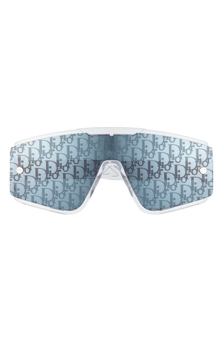 DIOR HOMME Dual Lens Shield Sunglasses, Main, color, CRYSTAL/ SILVER   OBLIQUE