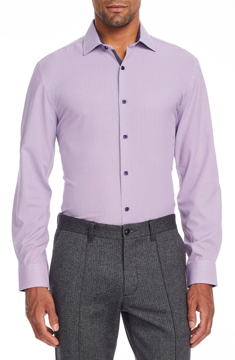 W.R.K . Trim Fit Dot Performance Stretch Dress Shirt, Main, color, NAVY/ PURPLE