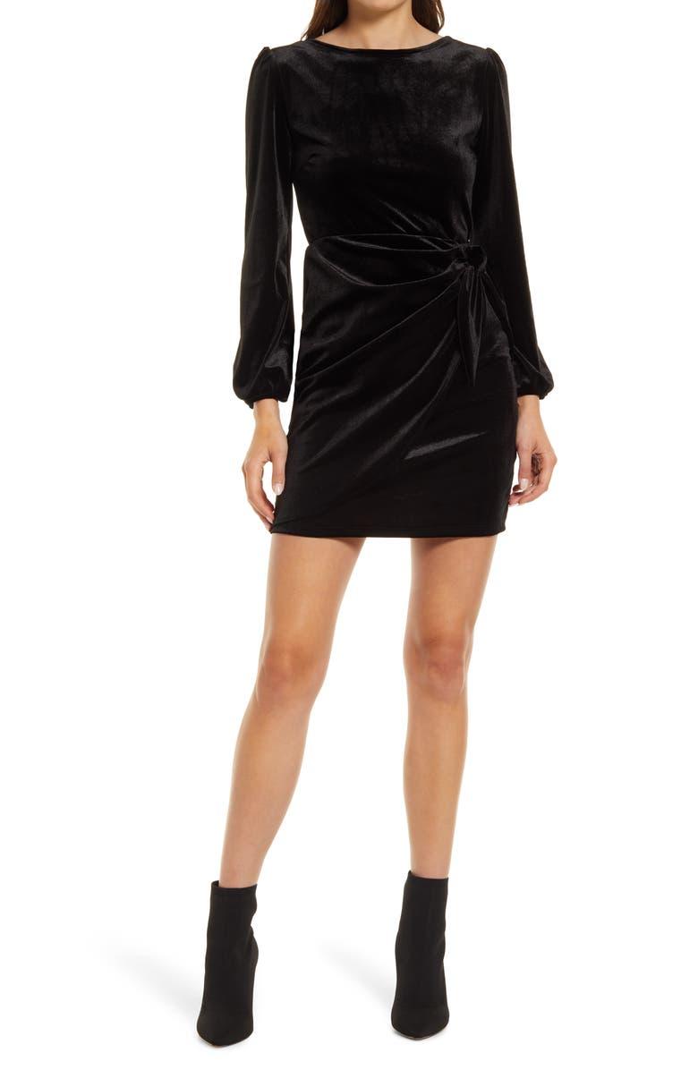 FRAICHE BY J Long Sleeve Velvet Cocktail Minidress, Main, color, BLACK