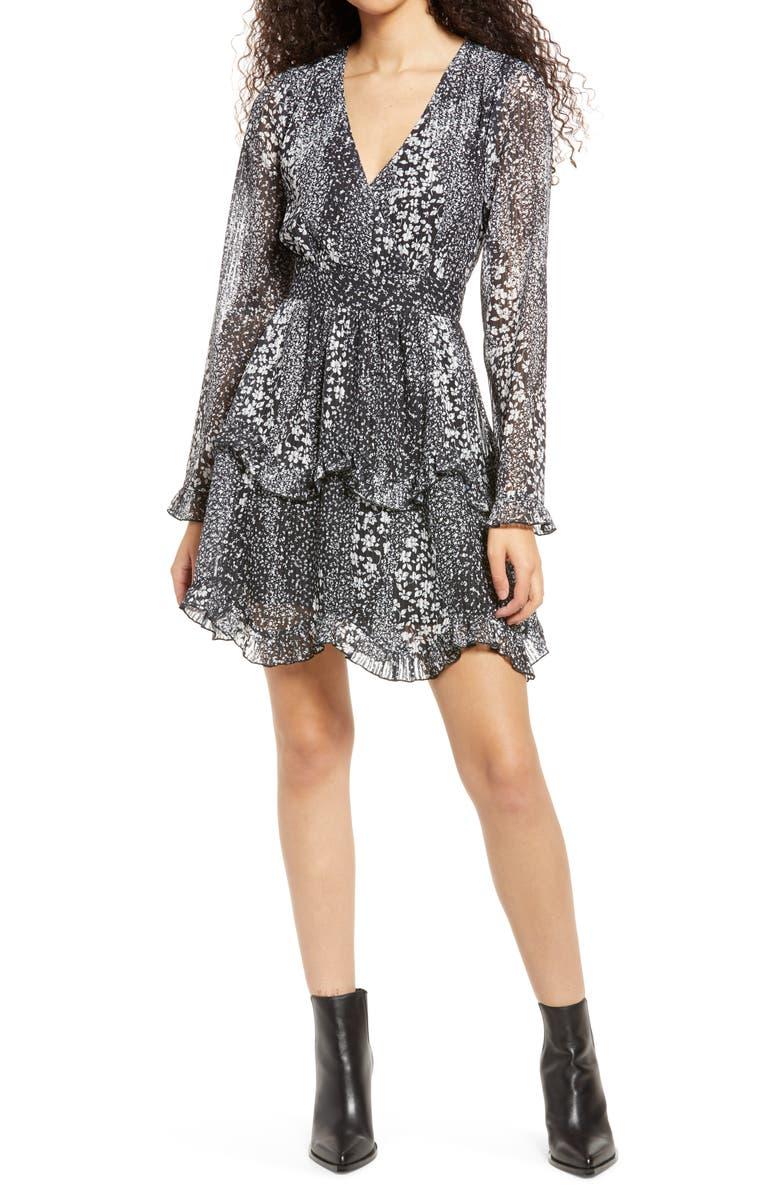LULUS Love Me Right Print Long Sleeve Dress, Main, color, BLACK FLORAL PRINT