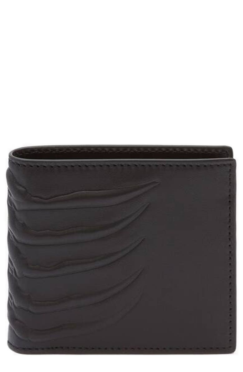 ALEXANDER MCQUEEN Rib Cage Leather Bifold Wallet, Main, color, BLACK