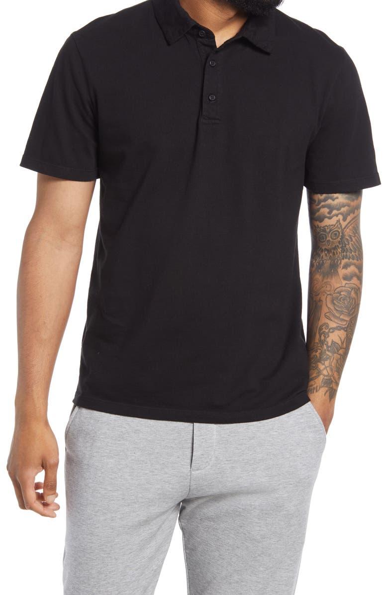Regular Fit Garment Dyed Cotton Polo Shirt, Main, color, TRUE BLACK