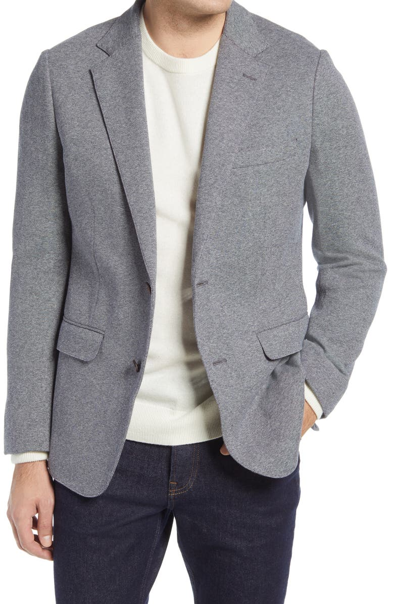 BONOBOS Jetsetter Trim Fit Knit Cotton Blazer, Main, color, MEDIUM GREY