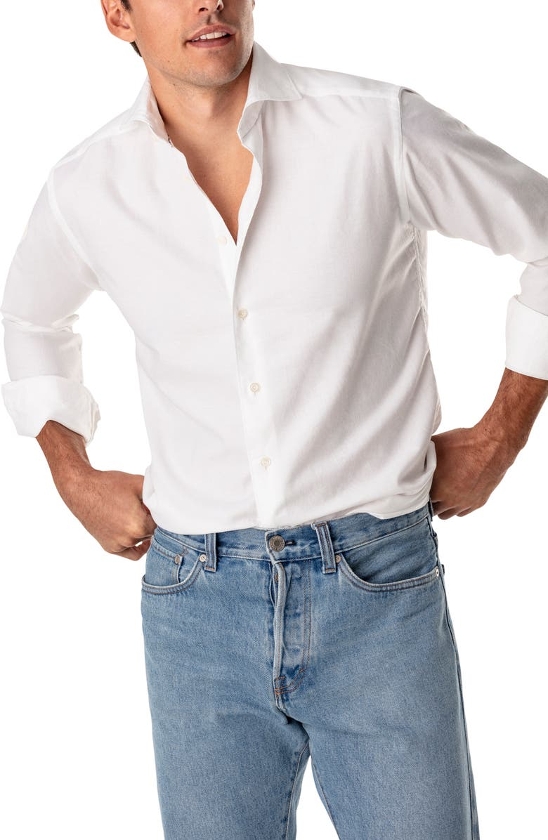 ETON Contemporary Fit Cotton Jersey Shirt, Main, color, WHITE