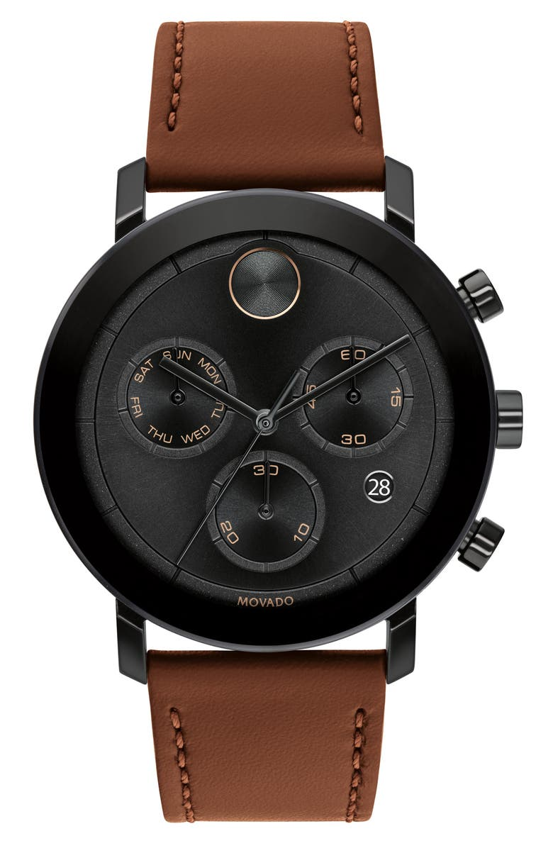 MOVADO Bold Evolution Chronograph Leather Strap Watch, 42mm, Main, color, BLACK