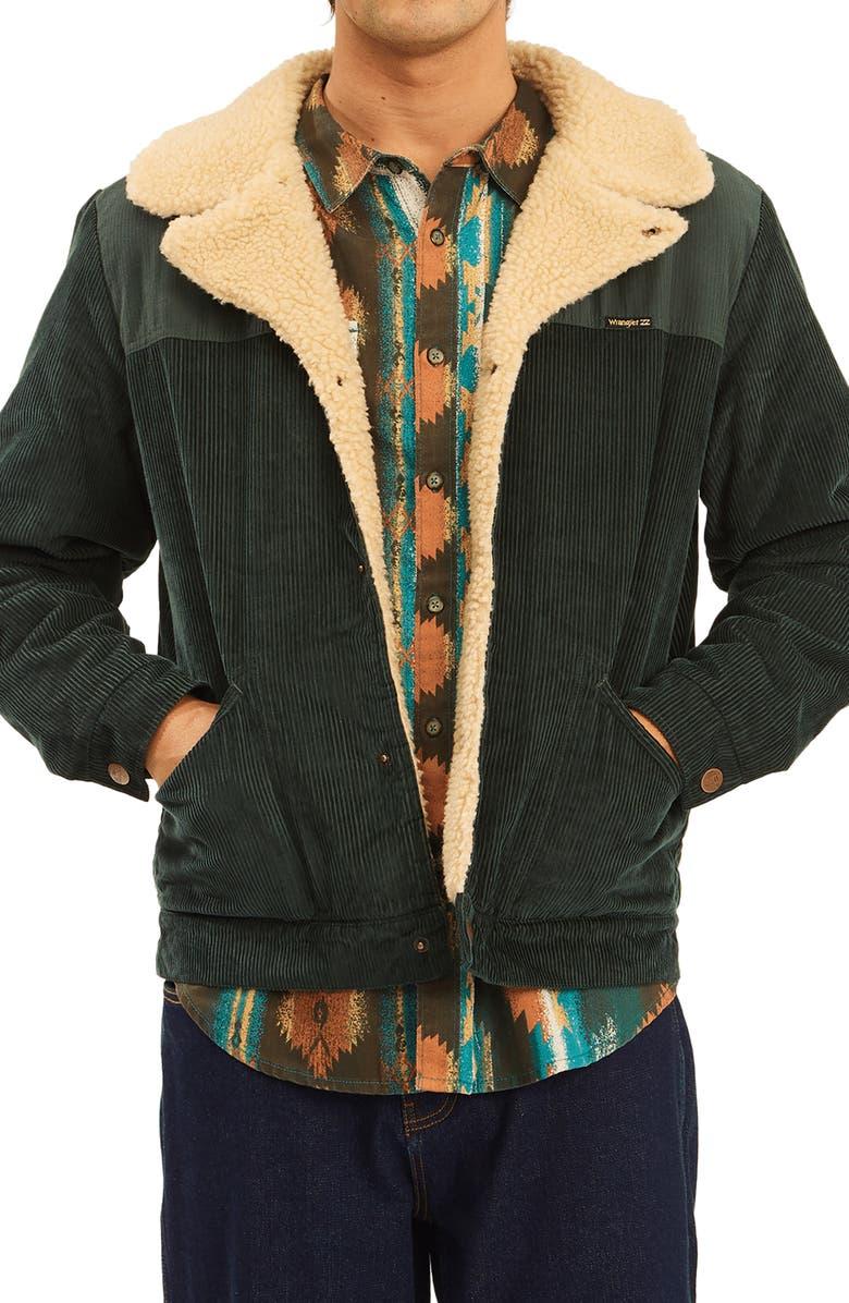 BILLABONG x Wrangler Range Fleece Lined Corduroy Jacket, Main, color, BOTTLE GREEN