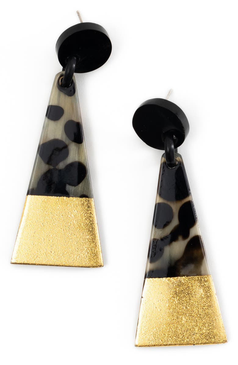 SUNSHINE TIENDA Metallic Dipped Triangle Earrings, Main, color, GOLD/ TORTOISE
