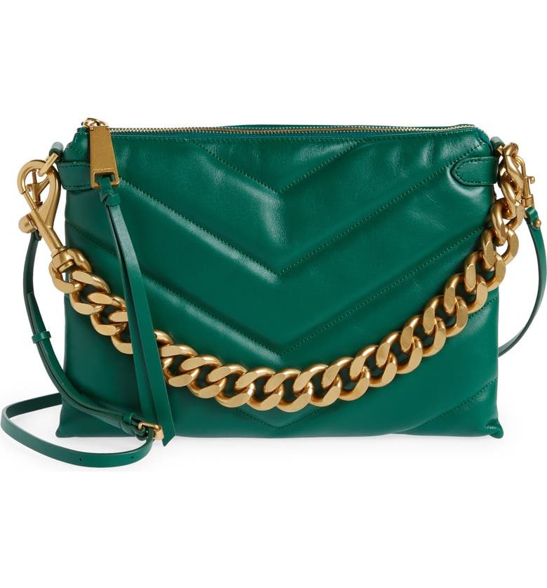 REBECCA MINKOFF Edie Maxi Leather Crossbody Bag, Main, color, EMERALD