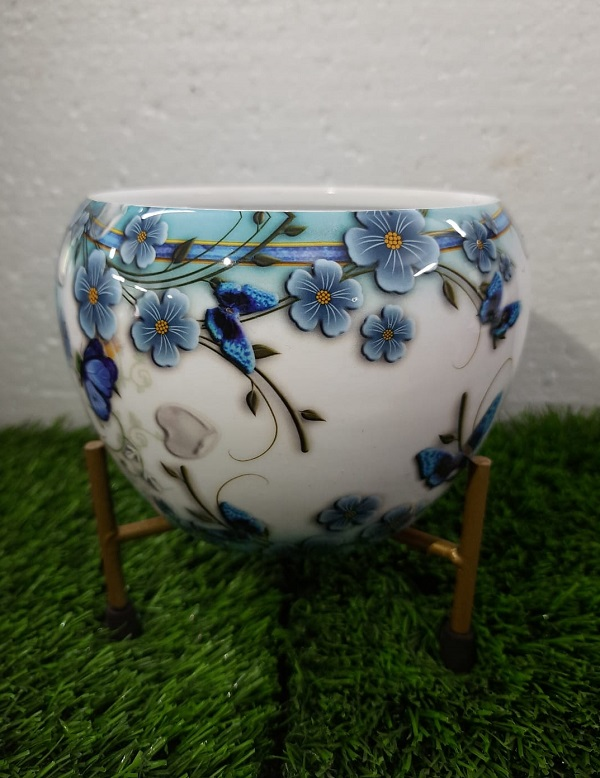 Floral White Planter with G...