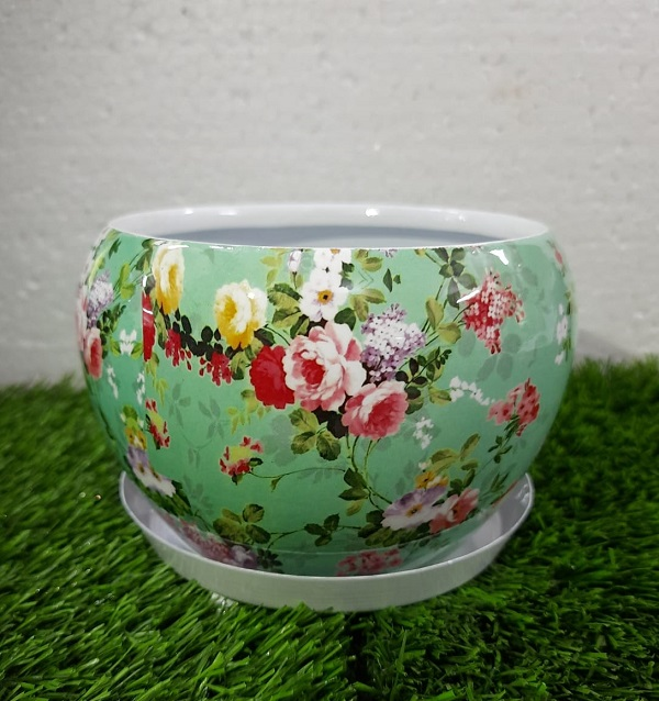 Floral Metal Planter with W...