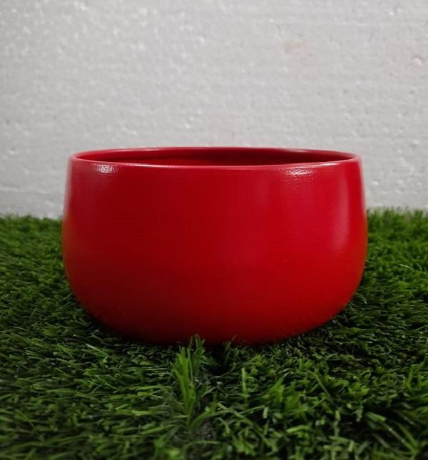 Round Metal Bowl Planter (Red)